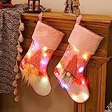 dh-10 Juego de Calcetines navideños de 2, Calcetines navideños con Luces LED, Calcetines navideños Personalizados, para Chimenea, árbol de Navidad, decoración de Temporada, decoración de árboles,
