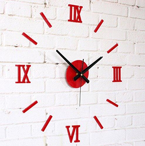 horloge murale CivilWeaEU- Metal Texture DIY Fun Horloge Horloge Murale Fashion Creative en Bois (Couleur : Rouge)