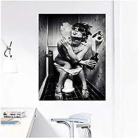 黒と白のセクシーなバスルームの素敵な喫煙女性美容キャンバス絵画バスルームパブバーホーム装飾芸術的なポスター壁ボックス,20x35inch (50x90cm)
