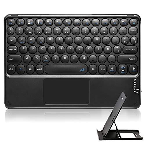 KOOCHUWAH Teclado Bluetooth con Touchpad QWERTY Español para Cualquier Sistemas Operativos iOS Android Windows, Compatible con iPad Galaxy Tab Tablets Portátil Teléfonos Inteligentes(con soporto)