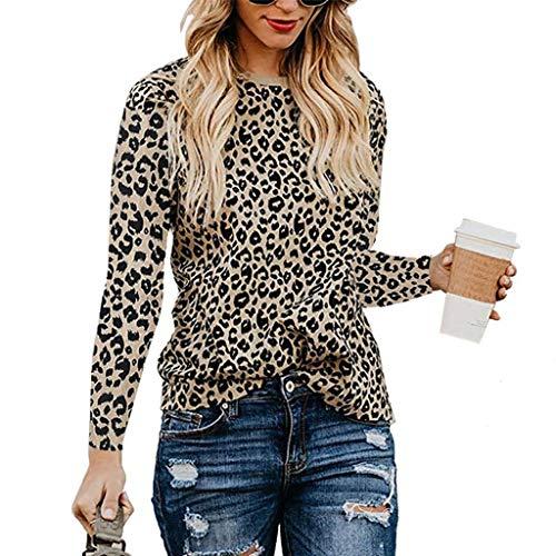 HULKY Pull Femme Hiver Chic Sweat Long Femme Tuniques Femme Manche Longue Grande Taille Tee Shirt Blouses Et Chemisiers Tops Imprimés Léopard pour Les Femmes Pull Décontracté Sweats Blouses