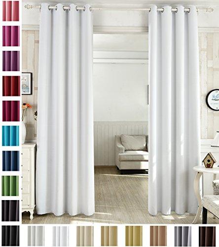 WOLTU 488, Vorhang Gardinen Blickdicht mit Ösen, Leichter & weicher Verdunklungsvorhang für Wohnzimmer Schlafzimmer Haustür, 135x245 cm, Weiß (Hinter: Grau), (1 Stück)