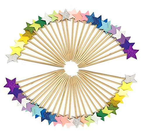 BQSHOP 50 Pcs Multicolor Star Cupcake Toppers, Star Cupcake Toppers Twinkle Little Star Decorations Birthday Cupcake Toppers Glitter Star Cake Decorations for Party Birthday Wedding Ceremony