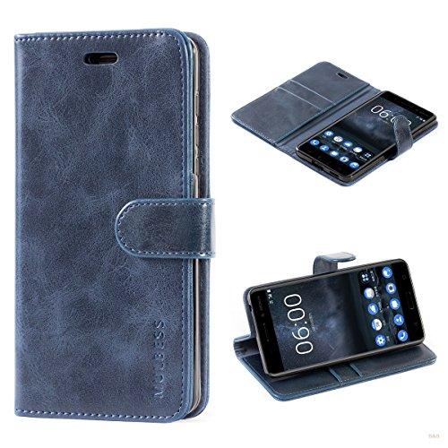 Mulbess Cover per Nokia 6, Custodia Pelle con Magnetica per Nokia 6 [Vinatge Case], Blu Navy