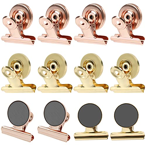 GRTARD Magnetic Clips12pack Fridge Magnets Magnetic Hooks Clips Strong Refrigerator Magnetic Clips Heavy Duty Magnetic Clips Metal Magnet Clips Whiteboard Magnetic Clips Gold and Rose Gold