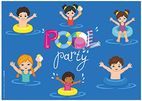 ArtUp.de 12 Einladungskarten Schwimmbad Pool-Party Kindergeburtstag Hallenbad Spassbad Freibad | Geburtstagseinladungen Einladungen Geburtstag Kinder Jungen Mädchen Einladungstext Vorlagen Karten Set