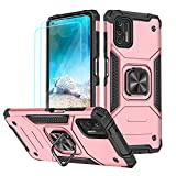 for Moto G Stylus 2021 Case with Tempered Glass Screen Protector Military Grade Drop Protection Metal Ring Kickstand Dual Layer Heavy Duty Shockproof Hard Phone Case for Motorola g Stylus 2021 -Pink
