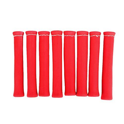 Yctze Protector de la bujía, 8 Piezas 1600 para el Carro del Coche Grado Protector de la bujía Cargador de Cable Rojo Protector del Calor Aislante de la Cubierta