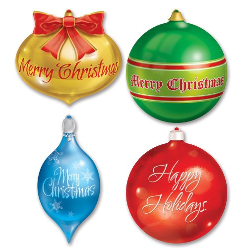 Beistle 4-Pack Packaged Christmas Ornament Cutouts, 13-1/2-Inch-16-1/2-Inch