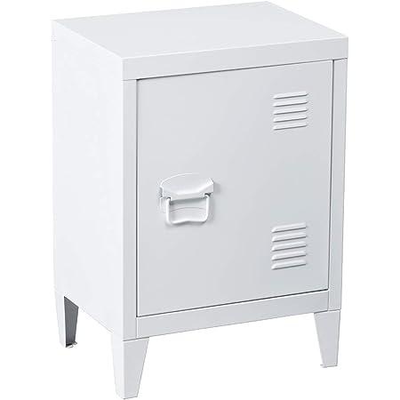 MEUBLE COSY Table de Chevet Petit meuble en Acier Blanc, Casier en Métal avec Deux étagères