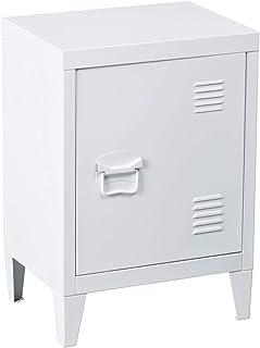 MEUBLE COSY Rangement Bureau Table de Chevet Petit Meuble en Acier Blanc, Casier en Métal avec Deux étagères, 30x40x57cm