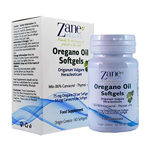 Zane Hellas Aceite de orégano Softgels. Cada cápsula contiene un 15% de aceite esencial de orégano griego. 64 mg de Carvacrol por cápsula blanda.60 cápsulas.
