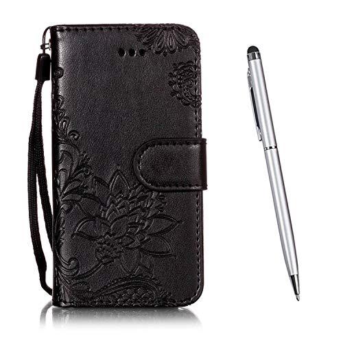 TOUCASA Kompatibel mit Motorola Moto E5 Plus Hülle, Handyhülle Brieftasche PU Leder Flip [Ständer Kartenfach] [Prägung] Case Handytasche Klapphülle Kratzfestes Schutz Lederhülle (Schwarz)