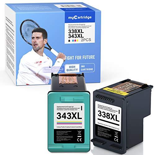 Mycartridge 2 Compatible HP 338/343 Cartucho de Tinta 338XL 343XL para HP Photosmart C3180 8750 Deskjet 6540 PSC 1610 2355 Officejet H470 (Negro/Color)
