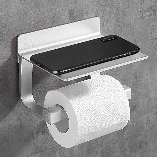 Hoomtaook Porte Papier Toilette Derouleur Papier Toilette Adhésif Fort Porte-Papier Toilette, Auto-adhésif, Aluminium Argent