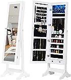 Joyero con iluminación LED y espejo de pie con cerradura para joyas blanco