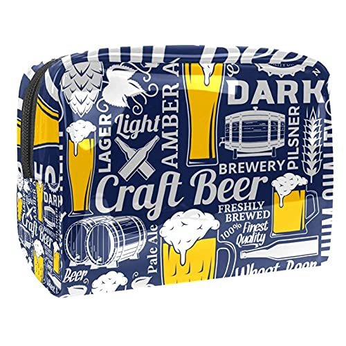 Neceser de viaje para hombres y mujeres multifunción impermeable baño organizador de ducha kit gran número árabe, Ilustración creativa de cerveza azul., 18.5x7.5x13cm/7.3x3x5.1in,