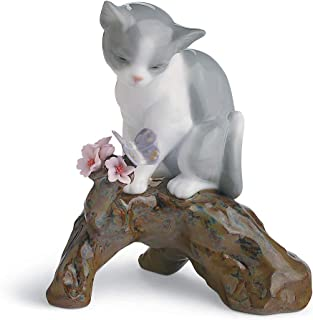 lladro cat with flowers