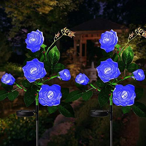 1 Lámparas Solares para Exterior de Jardín, Rosas Artificiales, Lámparas Solares para Jardín, Impermeables, LED, Luces Solares para Caminos, Decoración Resistente a la Lluvia