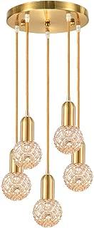 LED Chandeliers for Dining Rooms,Wellmet Cluster Pendant Ceiling Light, Hanging Light Fixture with E26 Bulbs, Modern Multi-Lights Adjustable 5-Light for Hallway Bedroom Foyer, Pineapple