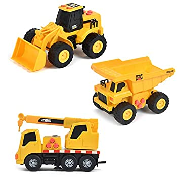 Sunny Days Entertainment Mini Construction Vehicles 3 Pack – Lights and Sounds Pull Back Toy Vehicle with Friction Motor   Includes Dump Truck Front End Loader and Crane Truck – Maxx Action