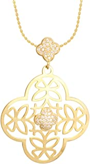 izaara Yellow 92.5 Silver Sterling Hallmark with Studded Cubic Zirconia Pendant for Women