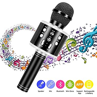 Wireless Karaoke Microphone,Guiseapue Bluetooth Karaoke Speaker Home Recorder KTV Player for Home KTV Outdoor Party Music,Compatible with Android & iOS Devices