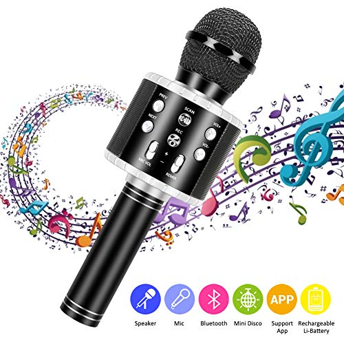 Auch gut in der Leistung Bluetooth Wireless Karaoke Mikrofon, Guiseapue 3 in1 tragbares tragbares Karaoke Mikrofon Home Party Lautsprecher für Geburtstagsgeschenk für iPhone / Android / iPad / PC / Smartphone