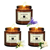 ACROSS Aromatherapy Candles, Set of 3 Candles for Home Scented Candles Jars Smokeless Natural Organic Soy Wax Candles Stress Relief Relaxation Gifts for Christmas Birthday