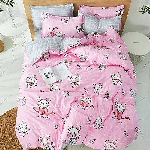 QWEASDZX Cotton Cartoon Four-Piece Dormitory Three-Piece Bedding Can Be Washed 2.0m