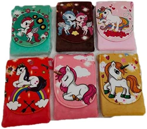 Newest Arrival Stylish Cutest Unicorn Cartoon Coin Purse Sling Bag Wallet Bag Pouch Earphones Storage Package Bag For Girls Kids Mini Coins Wallets Set Of 2 Pcs