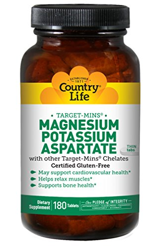 Country Life Target-Mins - Magnesium Potassium Aspartate, for Cardiovascular Health - 180 Tablets