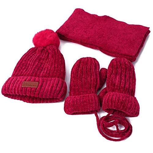 Conjunto de bufanda invierno Tres piezas Guantes Sombreros bufanda del sombrero de los niños calientes del invierno sistemas de la muchacha de la manopla de punto sombrero del otoño del invierno y muc