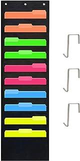 Organizador de Carpetas para Colgar,Colgador de Carpetas 10 bolsillos y 3 Colgadores Oxford Multifuncional Storage Pocket Chart