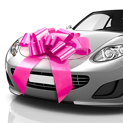 MIFFLIN Thicker & Sturdier Big Car Bow (Pink, 30 inch), Butterfly Shape Gift Bow, Giant Bow for Car, Birthday Bow, Huge Car Bow, Car Bows, Big Pink Bow, Bow for Gifts, Christmas Bow for Cars