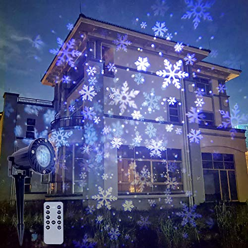 Christmas Snow Storm Projector Lights Outdoor Garden Stake Light LED Snowflake Lights Waterproof Landscape Remote Snowflakes for Indoor Gardens Homes Wedding Lawn Patio Holiday Decor
