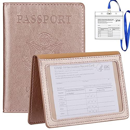 TIGARI Passport Wallets Passport Covers, Passport and Vaccine Card Holder Combo, Ultra Slim Passport Holder for Women Men, Leather Passport Case Protector with Waterproof Vaccine Card Slot (Rose gold)