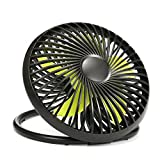 UKHONK 6 Inch Portable USB Powered Desk Fan Personal Cooling Fan,Small Table Fan Cooling Fan with 2 Speed & Adjustable Height,Great for Desktop Office Travelling Camping Fishing Home(Black)