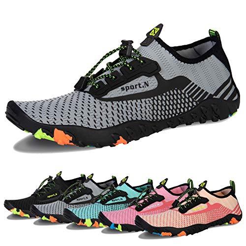 Water Shoes Mens Womens Beach Swim Shoes Quick-Dry Aqua Socks Pool Shoes for Surf Yoga Water Aerobics (J-Gray, 38)