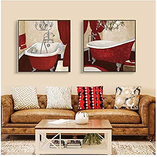 Canvas print,Retro badkamer kunst aan de muur stijl schilderij Nordic Creativiteit badkamer muur schilderij werkt Home Decor posters en prints-50x50x2Pcscm