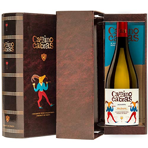 CAMINO DE CABRAS Estuche de vino - Albariño - vino blanco – D.O. Rías Baixas – Producto Gourmet - Vino para regalar - Vino Premium - 1 botella x 750 ml.