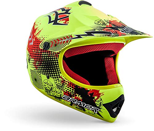"armor HELMETS® AKC-49 ""Limited Yellow"" · Kinder Cross-Helm · Motorrad-Helm MX Cross-Helm MTB BMX Cross-Bike Downhill Off-Road Enduro-Helm Sport · DOT Schnellverschluss Tasche XL (59-60cm)"