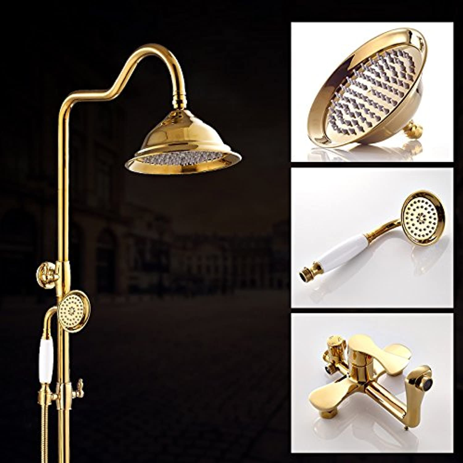 Hlluya Professional Sink Mixer Tap Kitchen Faucet Shower Faucet gold three stall shower Mixer Taps, showers, hot and cold pack B