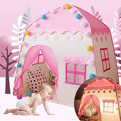 Tipi Tienda De Campaña para Niños Casa De Juguete Niño Niña con Bolsa De Almacenamiento Decoración De Dormitorio con Diseño De Cortina Castillo Tela Oxford + Varilla De Fibra De Vidrio