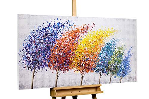 Kunstloft® Cuadro en acrílico 'Wind of Change' 140x70cm | Original Pintura XXL Pintado a Mano sobre Lienzo | Árboles Bosque Abstracto Multicolor | Cuadro acrílico de Arte Moderno con Marco