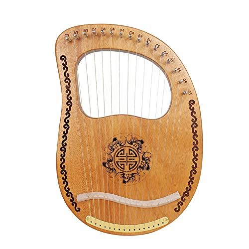 Harpa 16 strängar trä lyre metallsträngar mahogny massivt trä stränginstrument med stämningsnyckel