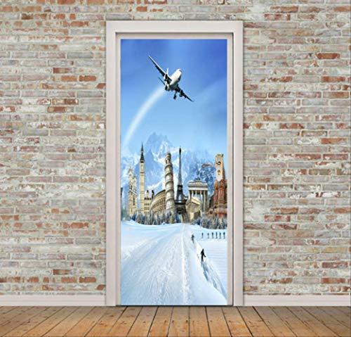 Deurstickers vliegtuig vliegen in sneeuw, bergbouw, muurstickers, muurstickers, behang, decoratie van het huis, 77 x 200 cm
