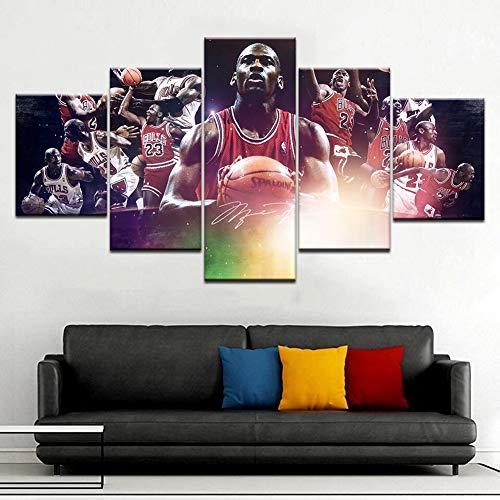 XLST 5 Panel Basketball Stern Michael Jordan hd leinwand malerei Bild wandkunst Poster für das Leben,B,30x50x230x70x230x80x1