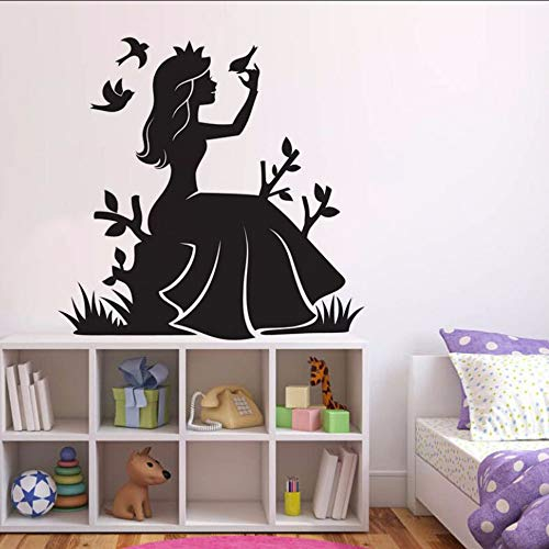 jukunlun Mädchen Zimmer Dekor Märchen Prinzessin WandKer Blumen Vögel Vinyl Wandtattoo Kinderzimmer Tapete Prinzessin Wandbild 42X42 Cm