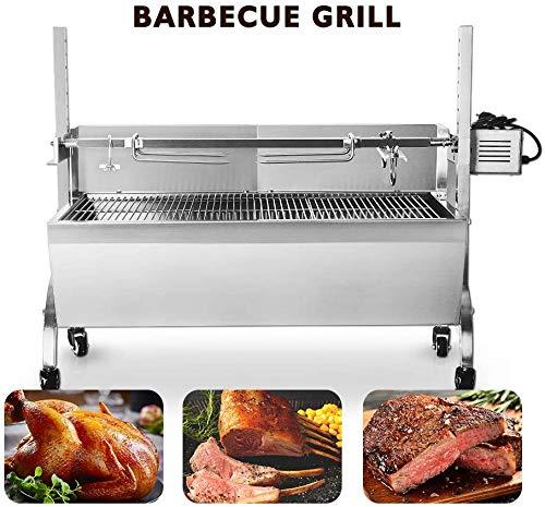 PLEASUR Edelstahlspießröster Rotisserie Barbecue Holzkohlegrill 66x40 cm Grillplatz